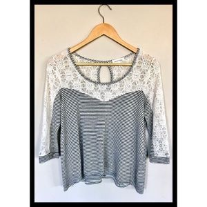 Monteau, black/white striped top with lace